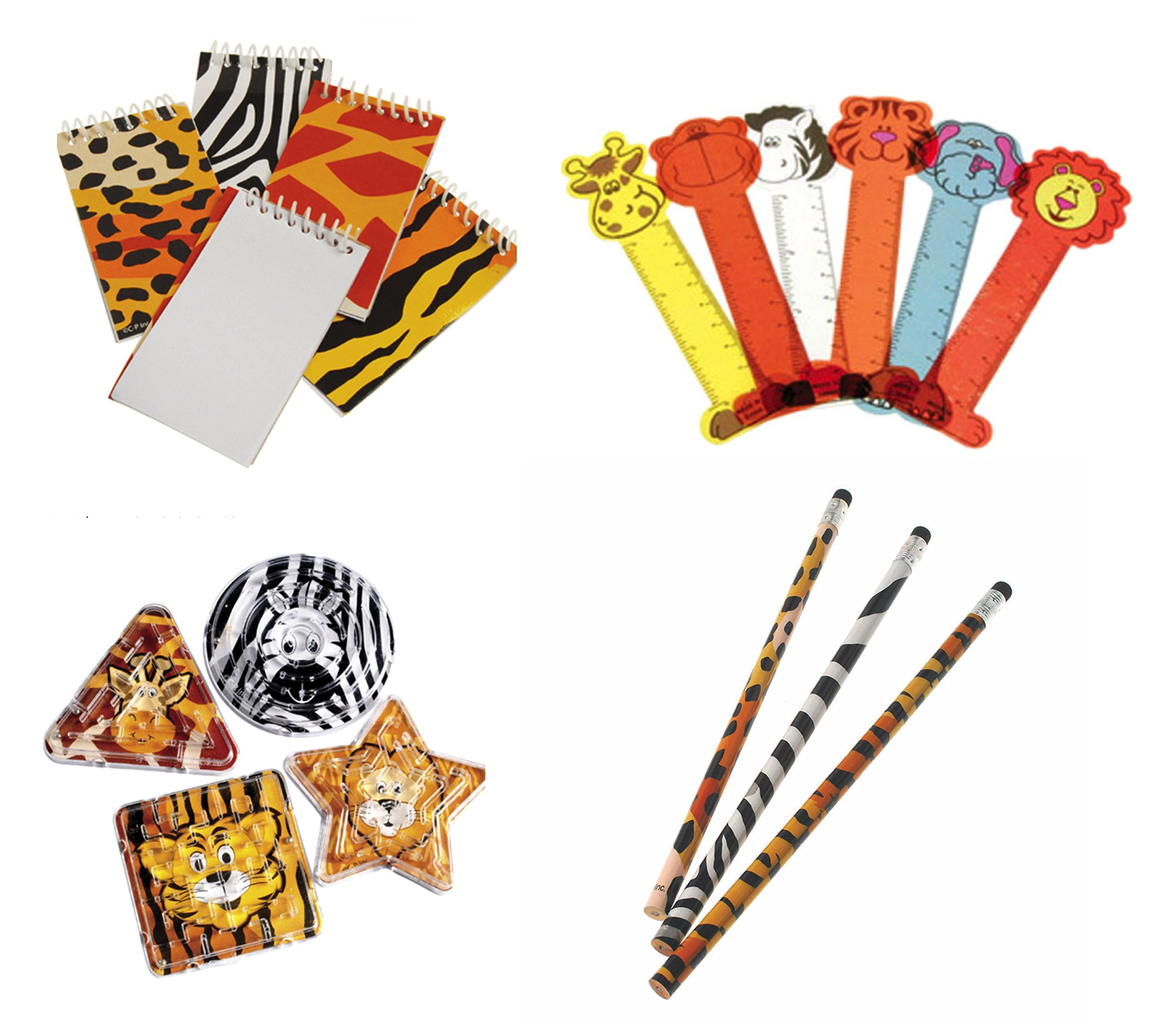 William & Douglas Animal Party Bundle | Party Favors include Maze Puzzles, Print Pencils, Ruler Bookmarks, Print Notebooks