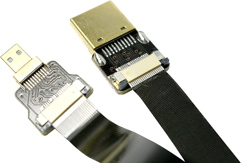 FFC Micro HDMI FPV HDMI Cable Micro HDMI to Standard HDMI Normal HDMI Full HDMI Compatible with panasonic lumix GH4 GOPRO blackmagic BMPCC Sony Alpha Sony A5000 A6000 A7R A7S A6300 A6500 50CM Black