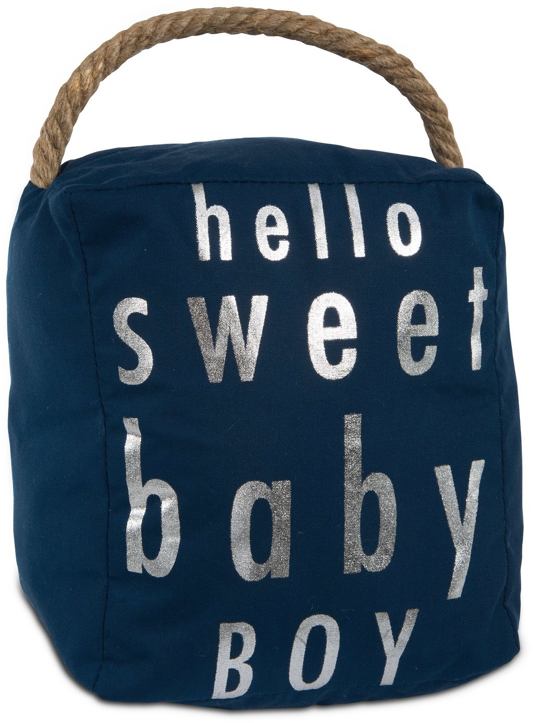 Pavilion Gift Company Open Door Decor - Hello Sweet Baby Boy Room Decor Navy Blue & Silver Door Stopper with Handle