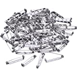 Mudder 100 Pieces Silver Tone Pin Back Clasp Brooch Name Badge Craft (1.26 Inch)