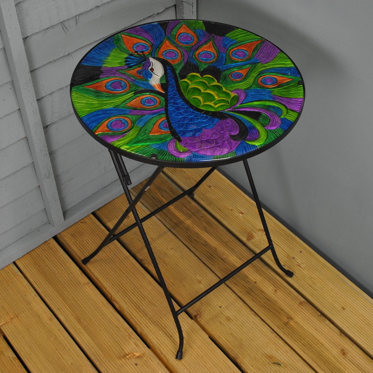 Extra Large Folding Drinks Side Garden Patio Table Peacock Design by Smart Garden Smart Solar