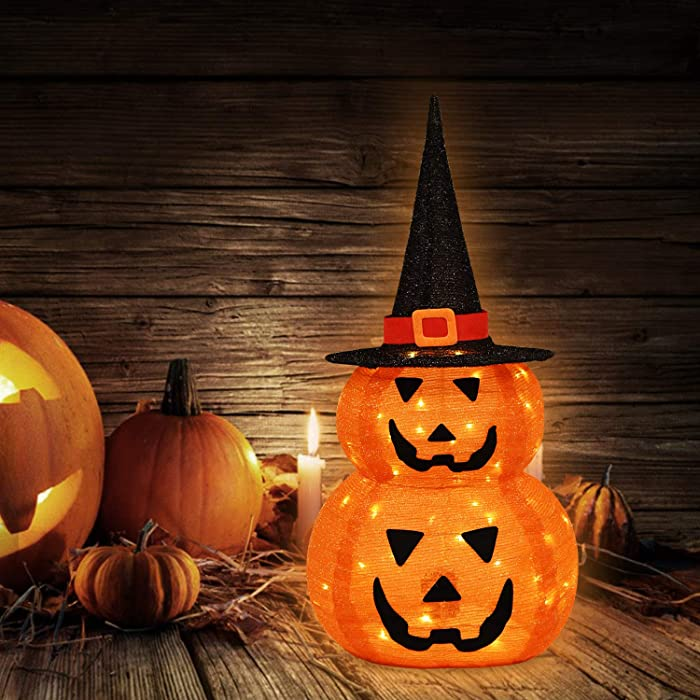 Halloween Decorations Lights Indoor/Outdoor, Fabric Double Pumpkin with Witch Hat Lights, Battery Operated with Timer, Halloween Lights for Home, Garden, Party, Yard Decor
