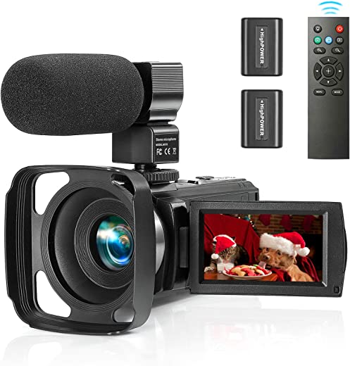 ZUODUN Camcorder Video Camera YouTube Vlogging Camera Recorder Full HD 1080P 30FPS 36MP 3.0 inch Touch Screen IR Night Vision 16X Digital Zoom Camcorder with External Microphone, Remote Control