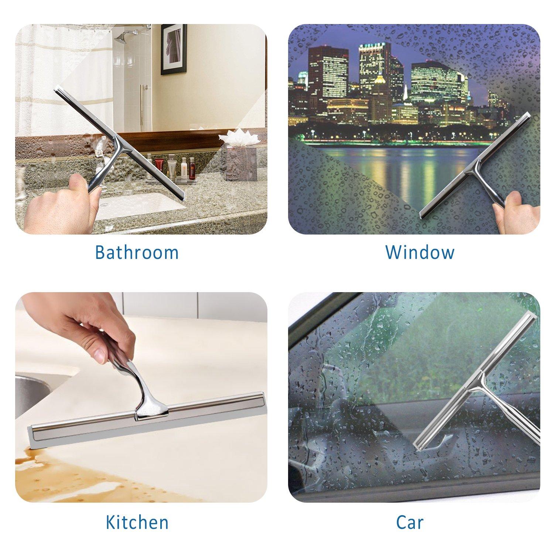 ideal f/ür Bad und Dusche ohne Bohren Duschabzieher Ulinek Dusch Abzieher Edelstahl Fensterabzieher mit Saughaken