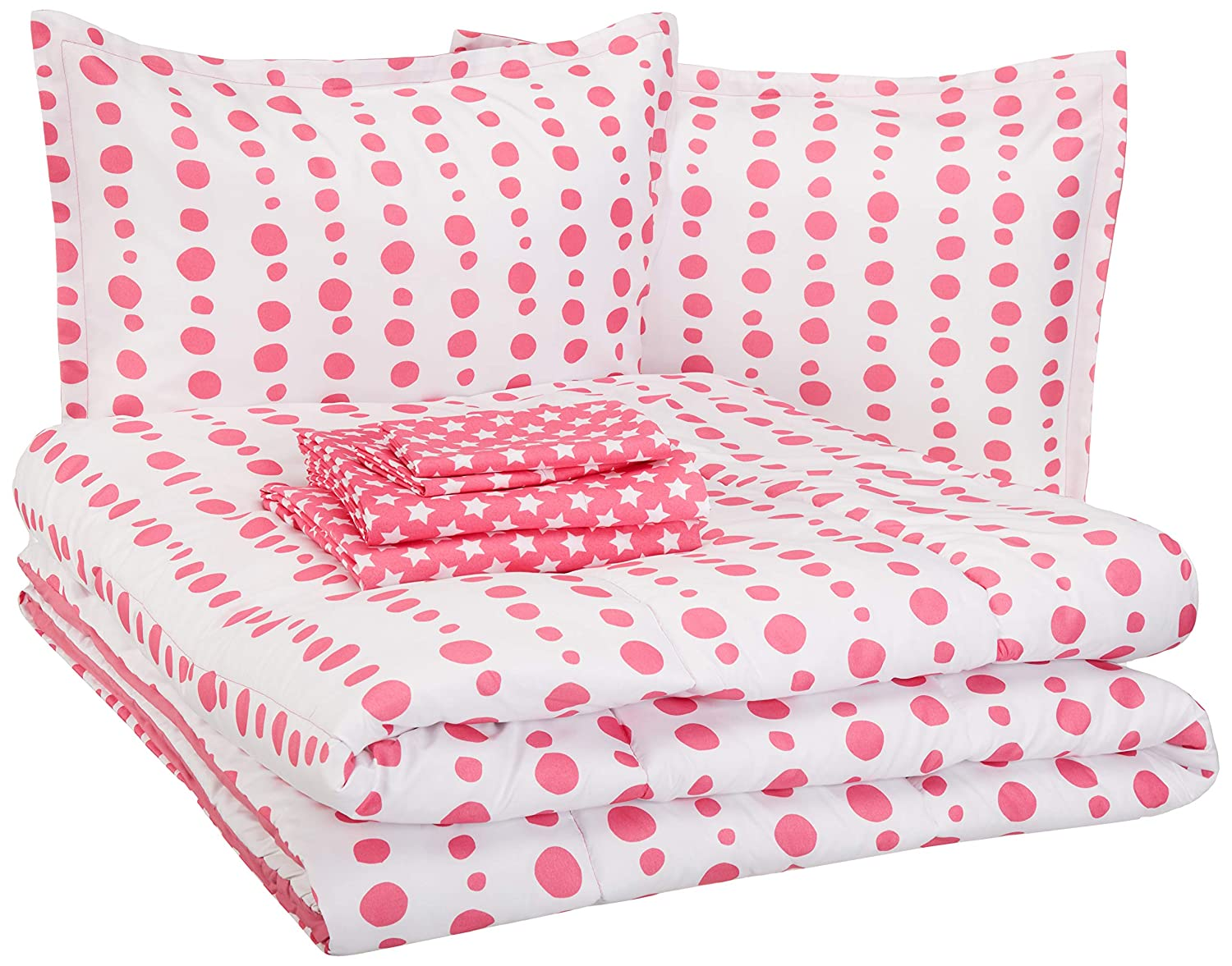 AmazonBasics Kid's Bed-in-a-Bag - Soft, Easy-Wash Microfiber - Full/Queen, Pink Dotted Line