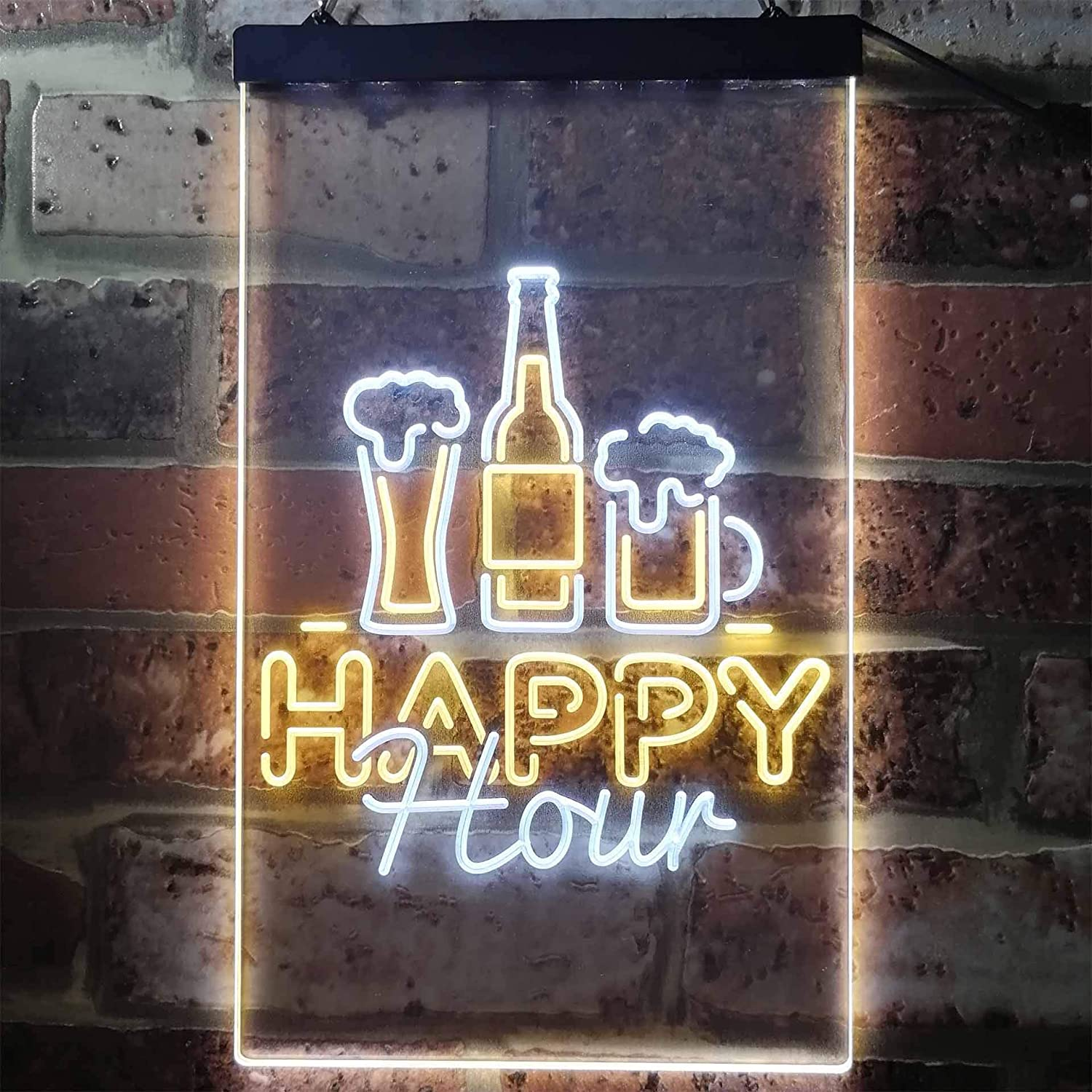 ADV PRO Happy Hour Beverage Home Bar Dual Color LED Enseigne Lumineuse Neon Sign Bleu et Rouge 210 x 300mm st6s23-i3243-br