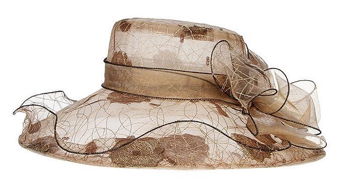 95077425aed Gemvie Women's Summer Wide Brim Bowknot Sun Hat Church Fascinator Cap