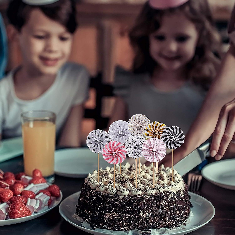 32 St/ücke Handgefertigte Papier Ventilator Kuchenaufs/ätze Dekoration Liefert f/ür Babyparty Geburtstag Hochzeiten Party MaoXinTek Kuchen Toppers Cupcake Toppers