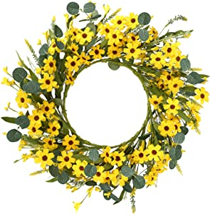 J'FLORU Artificial Yellow Daisy Wreath,Floral Wreath with Green Eucalyptus Leaves and Wildflowers Spring and Summer Wreath for Front Door Wall Window Decor-20in