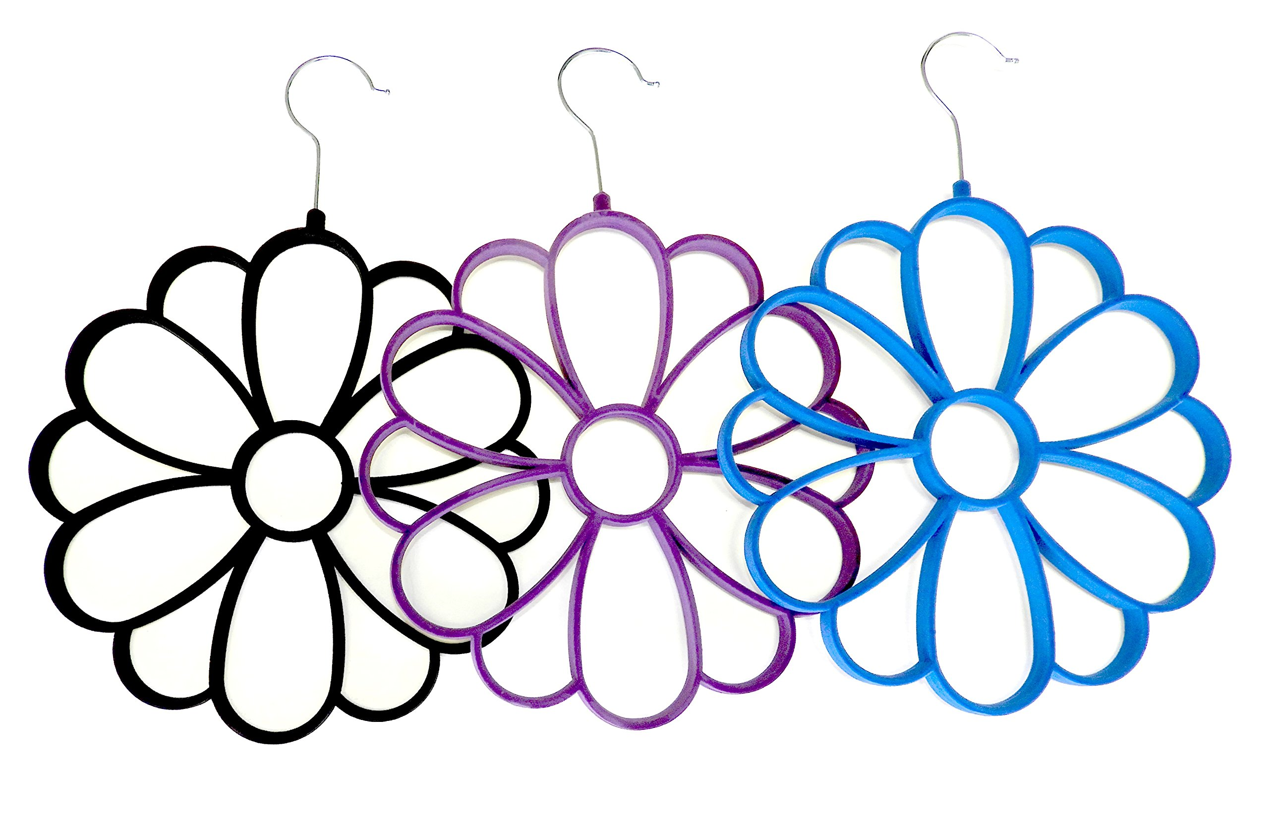 Home Style (3 Pack) Flower Scarf Organizer Velvet Scarf Hanger by Home Style