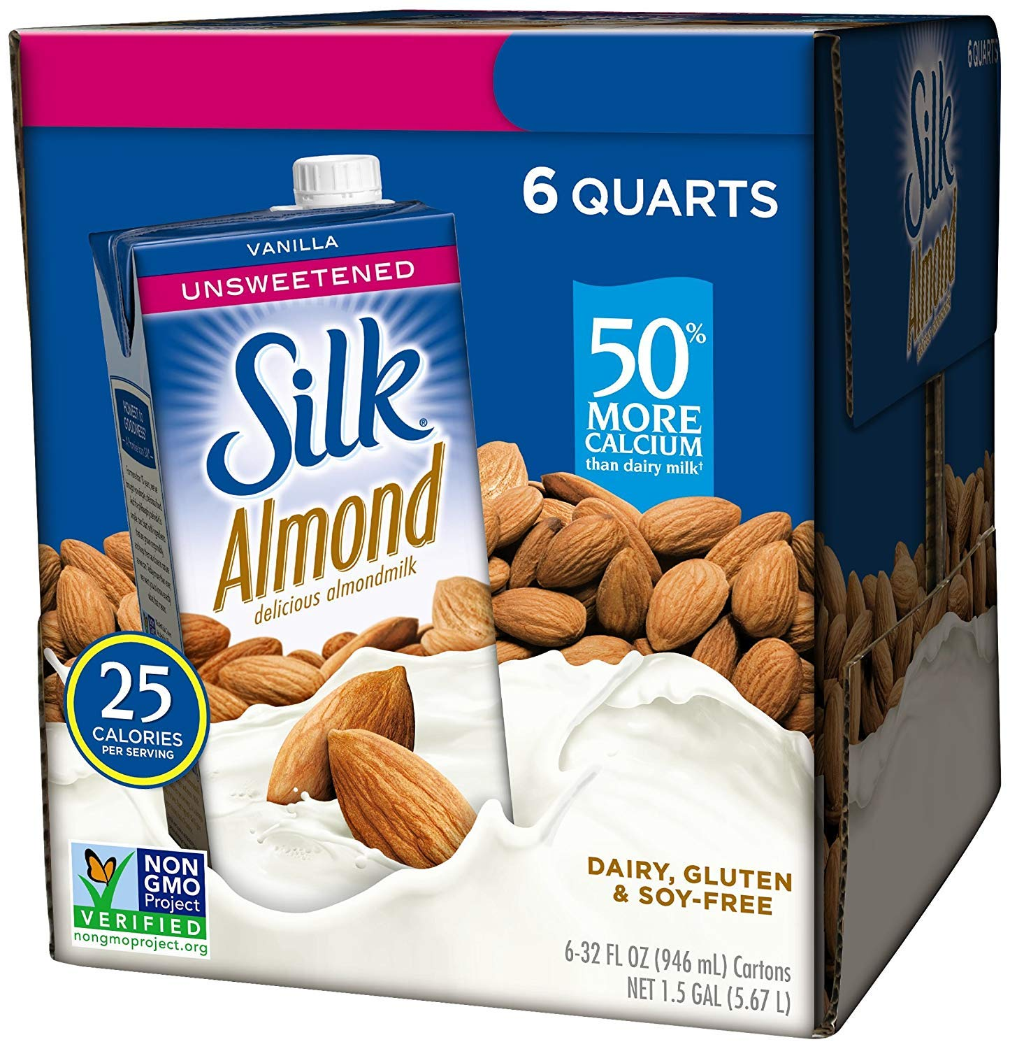 Silk Almond Milk, Unsweetened Vanilla, 32 Fluid Ounce (Pack of 6), Vanilla Flavored Non-Dairy Almond Milk, Dairy-Free Milk (2 Boxes)