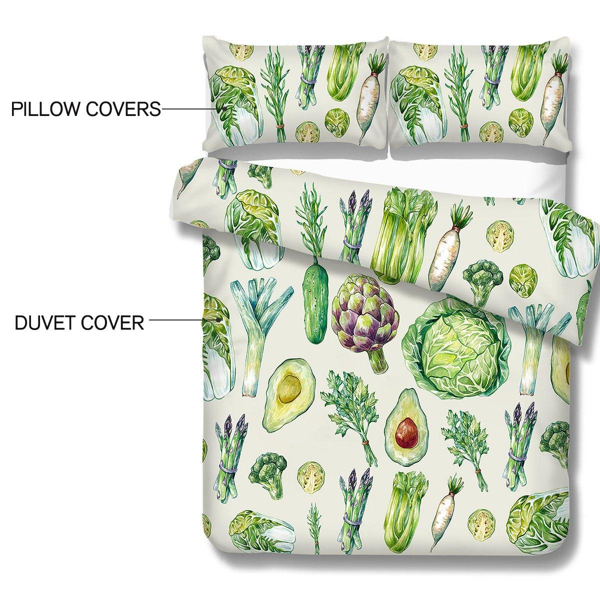 arightex planta naturaleza Vintage color juego de colcha de cama de funda de edredón 3 piezas verde de hortalizas diseño: Amazon.es: Hogar