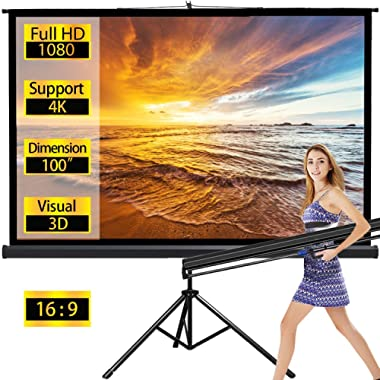 Projector Screen with Stand Outdoor Portable Pull Down Movie Screen 100 Inch for Home Theater 1.3 Gain 16: 9 160 Gegree Viewing Angle (Black)