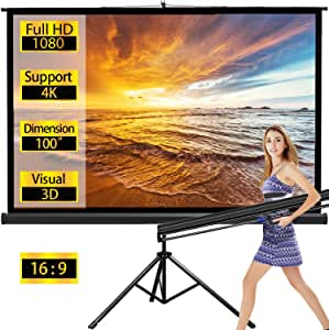 Projector Screen TV HD Large Movie Screen Theater Cinema Tripod Stand for Home Office Outdoor Indoor Folding Wedding Party Presentation 16:9 100 inches,Black