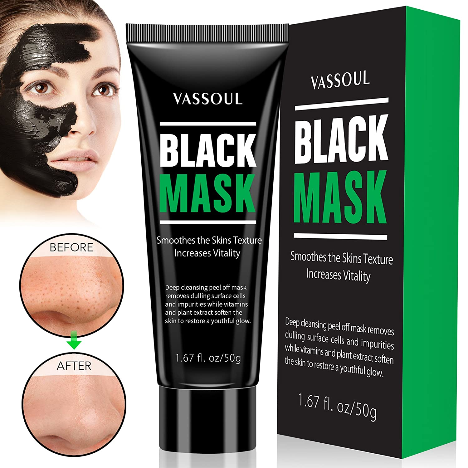 Silksence Blackhead Remover Mask, Purifying Peel-off Mask with Activated Charcoal Deep Pore Cleanse for Acne
