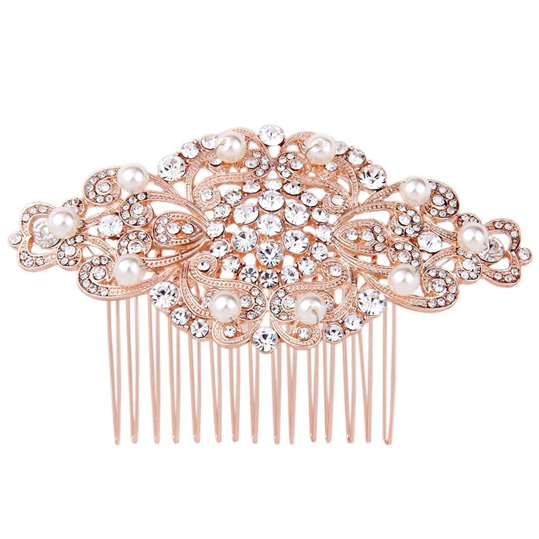 Fairy Moda Rose Gold Bridal Hair Comb Wedding Hair Accessories for Bride Art Deco
