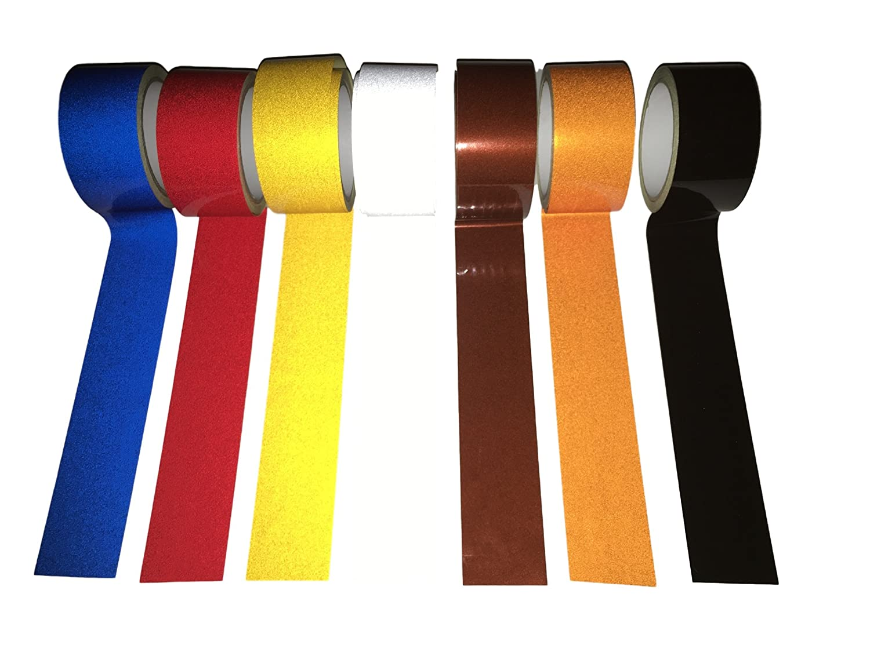 10 Metros reflectante autoadhesivo cinta / cinta reflectante de luz de cinta de seguridad - 50 mm de ancho - colores seleccionables - azul, rojo, amarillo, plata, marrón, naranja, negro (Marron) PRHomeProducts