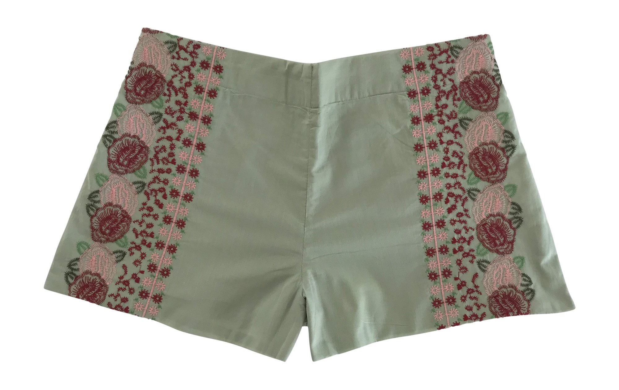 Isa & Ella Women's Floral Embroidered Shorts, Sage, Small