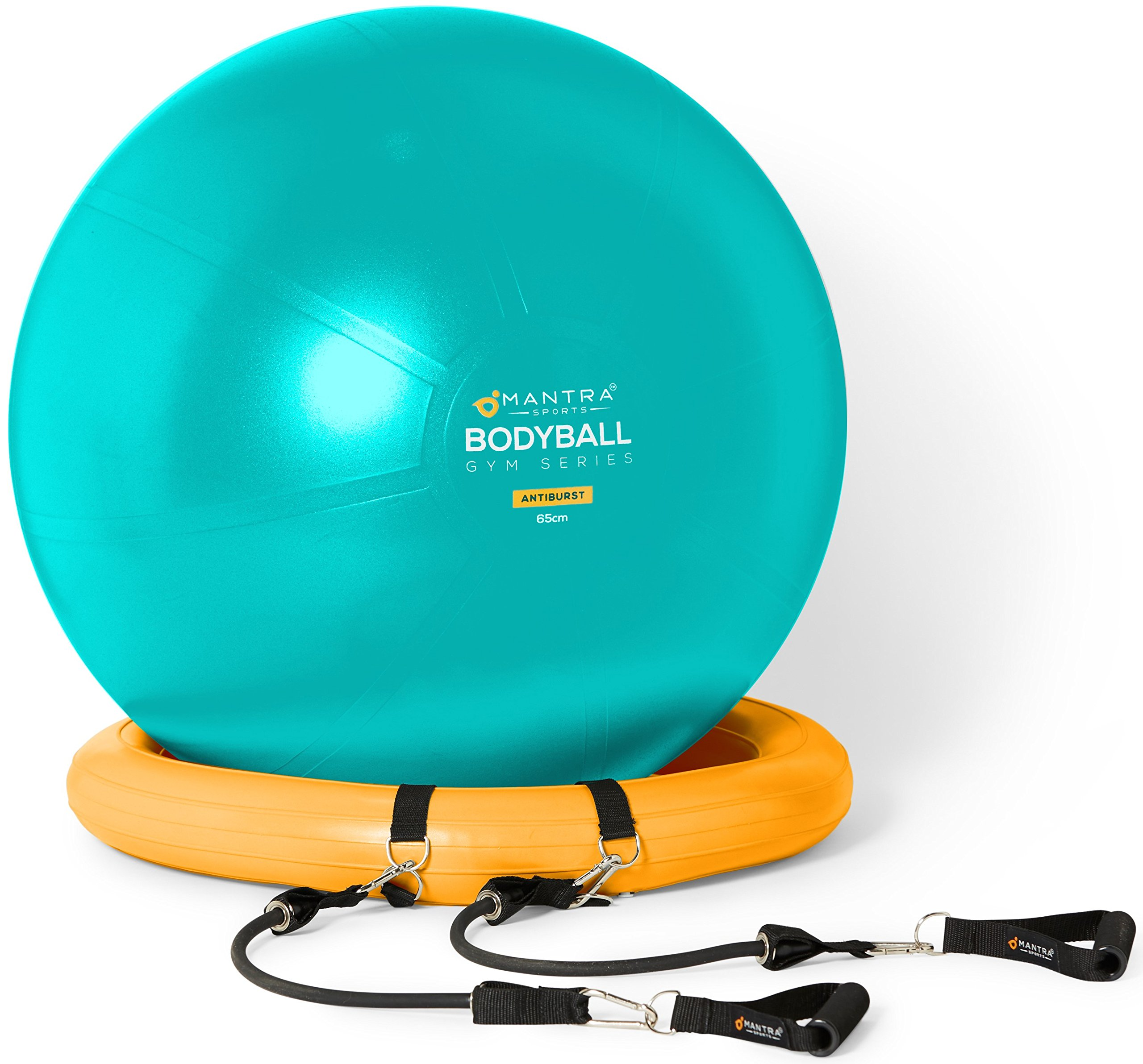 Exercise Ball Chair - 65cm 75cm Yoga Fitness Pilates Ball Stability Base  for Home Gym Office - Resistance Bands d3f0300095f2