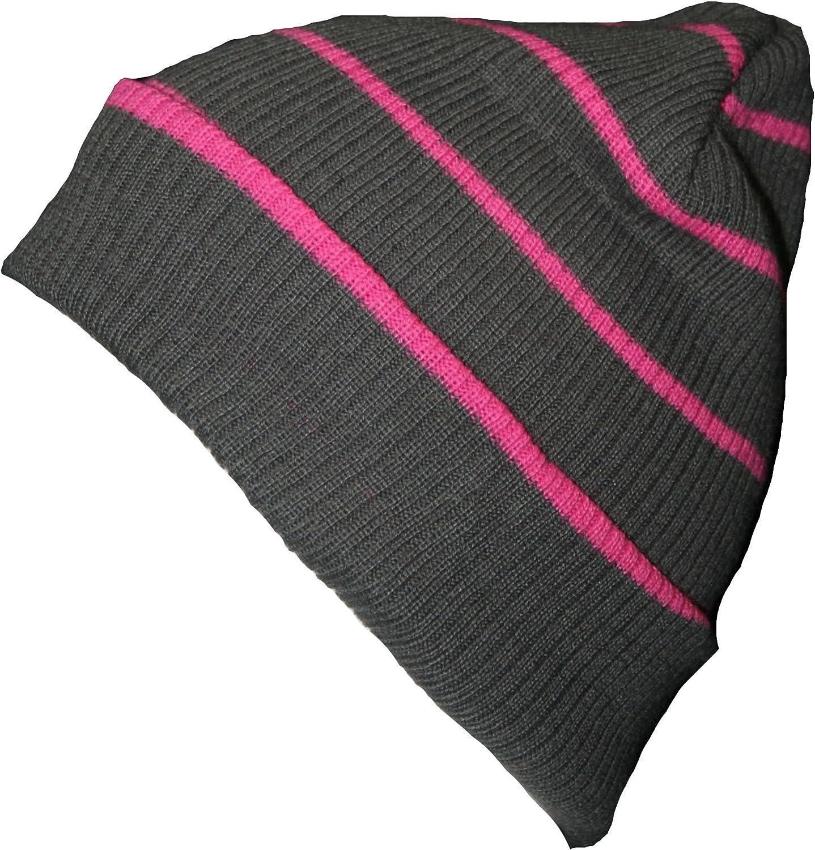 Rjm Kids Slouch Beanie Hat Grey /& Pink Stripe GL085