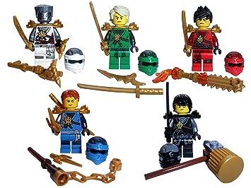 Genuine Lego Ninjago Minifigures Set Of 5 Ninja Including Golden
