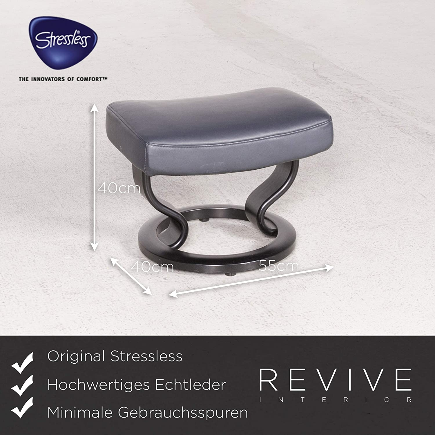 Stressless M Designer Leather Armchair with Stool Blue ...