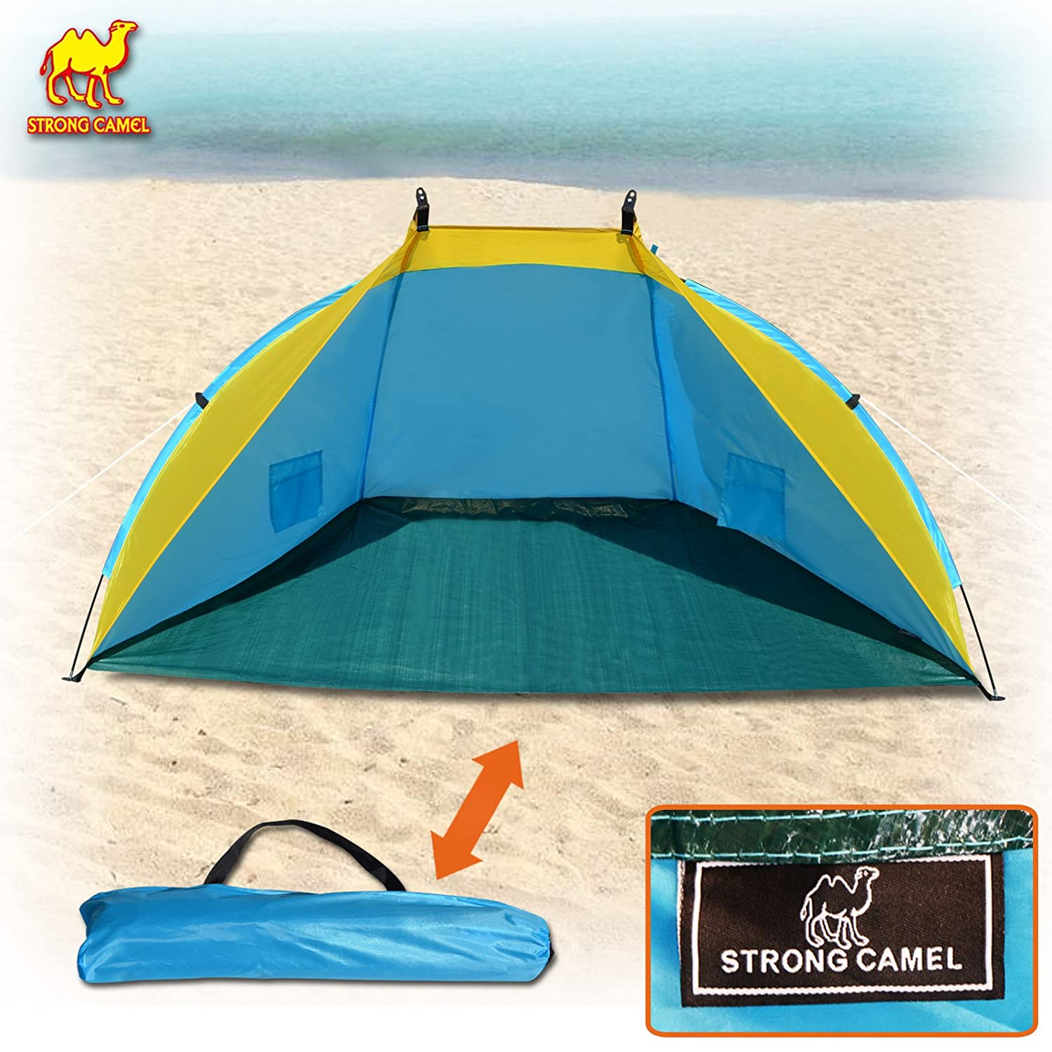 aefe62ca0c8d Amazon.com  Strong Camel Outdoor Fishing Beach Tent Canopy Camping Hiking  Picnic Sunshade Shelter Sport Sun Shelter (dark blue)  Sports   Outdoors