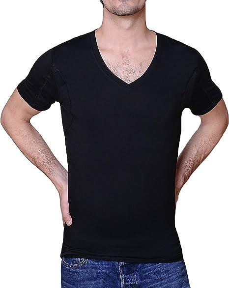 Argento Anti-Odore Collo a V Marcato in Cotone Ejis Maglietta da Uomo a Prova di Sudore Cuscinetti Assorbenti