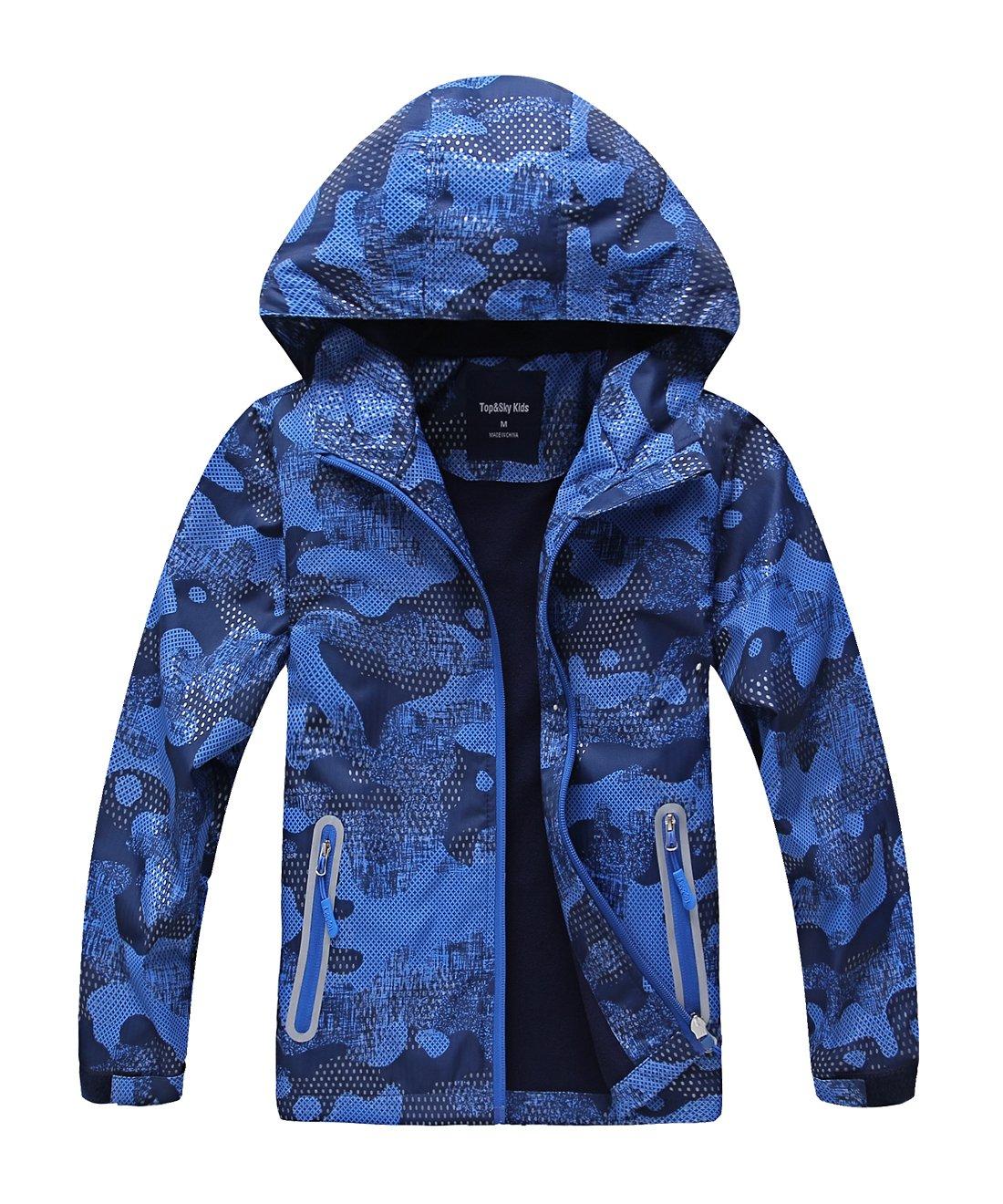 Hiheart Boys Windproof Fleece Lined Padded Jacket Outdoor Coat with Hood Blue 7/8