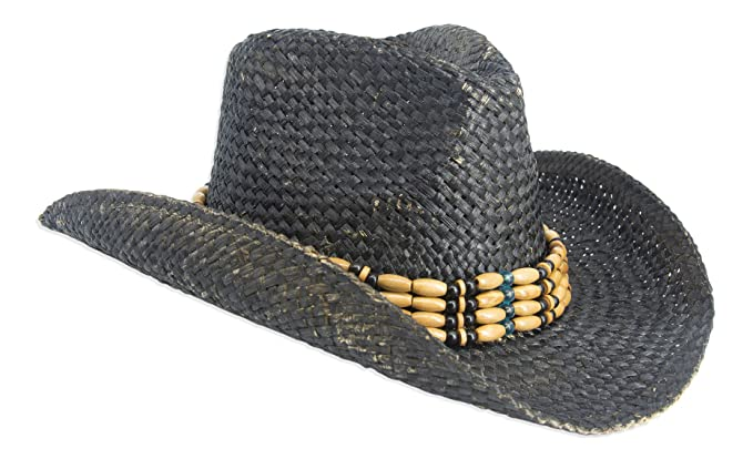 d69ce56ed Vintage Style Unisex Cowboy Hat - Distressed Black Straw With ...