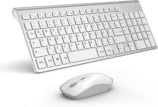 XRF - Teclado y ratón inalámbricos, 2,4 Ghz, ultrafino, portátil, recargable, con ratón, alta precisión con 2400 DPI (QWERTZ disposición del teclado ...