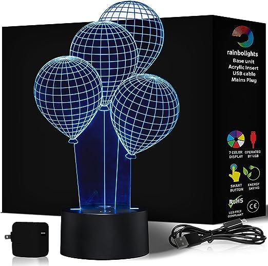 Amazon.com: Bebé Noche Luz Globo efecto 3d 7 Color Gran ...