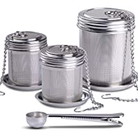 House Again Tea Ball Infuser & Cooking Infuser, (2+1 Pack) Extra Fine Mesh Tea Infuser Set Threaded Connection 18/8 Stainless Steel with Extended Chain Hook to Brew Loose Leaf Tea, Spices & Seasonings