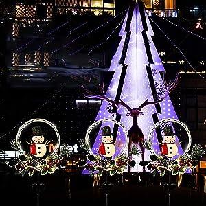 Solar Christmas Yard Decorations, Outdoor LED Solar Powered Snowflake Xmas Pathway Lights, Metal Garden Stake Lights, Snowman Santa Christmas Lawn Yard Ornament