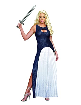 bd4481ef9 Dreamgirl Women's Queendom Come Warrior Queen Khaleesi Costume, Blue/White,  Small