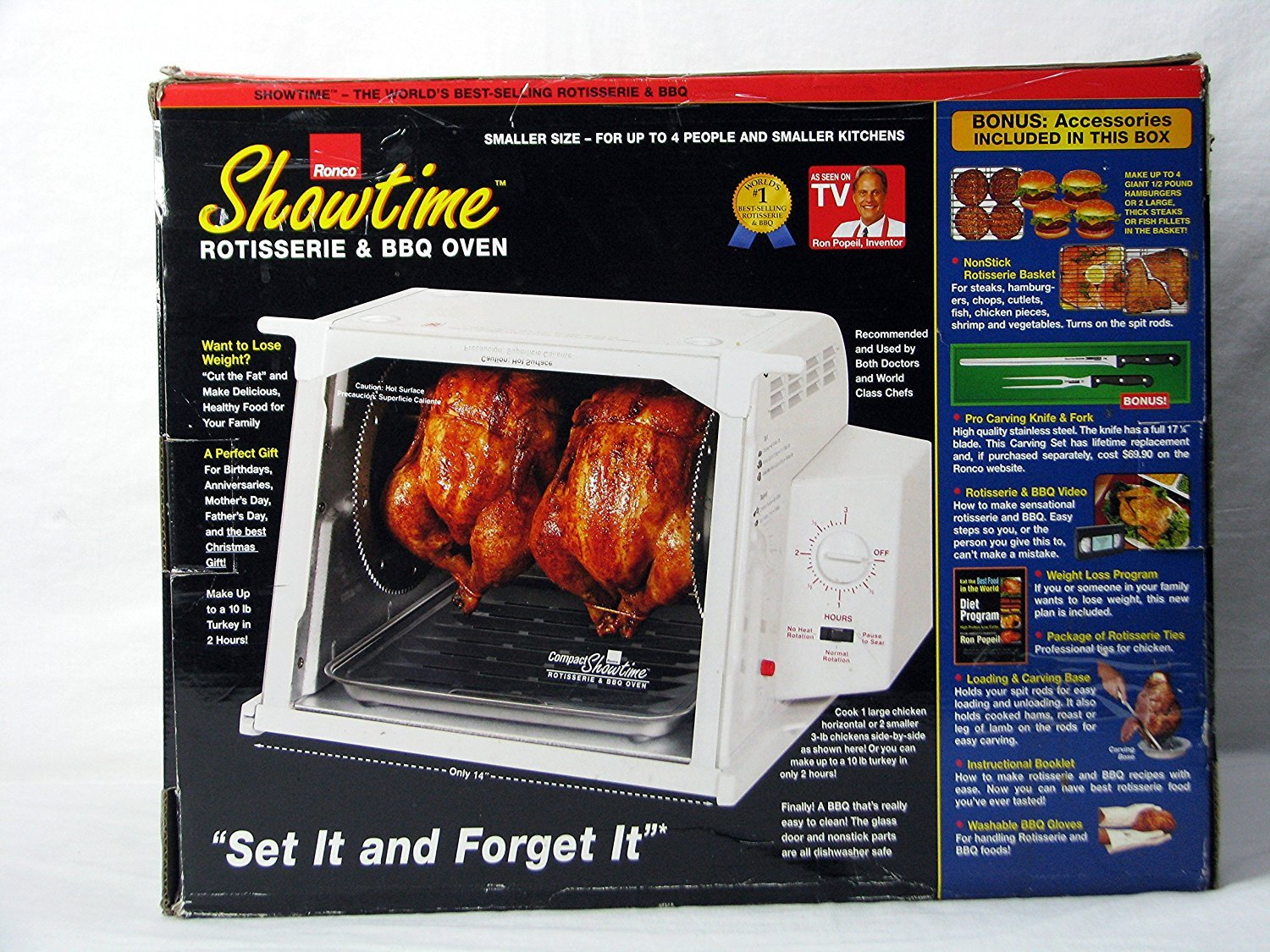 Ronco Showtime Compact Rotisserie & BBQ, White (3000) BONUS Accessory package included