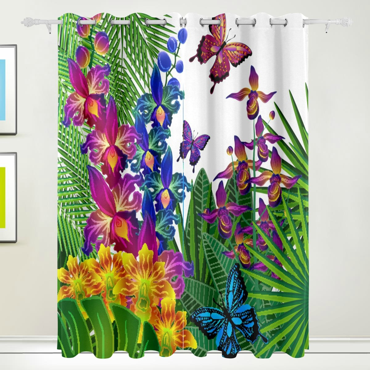 Window Curtain, Luxury Tropical Forest Trees Print Thermal Insulated Thick Super Soft Polyester Fabric Home Decor with Eyelet 2 Panels for Bedroom Living Room Bathroom Kitchen 84 x 55 inch FFY GO