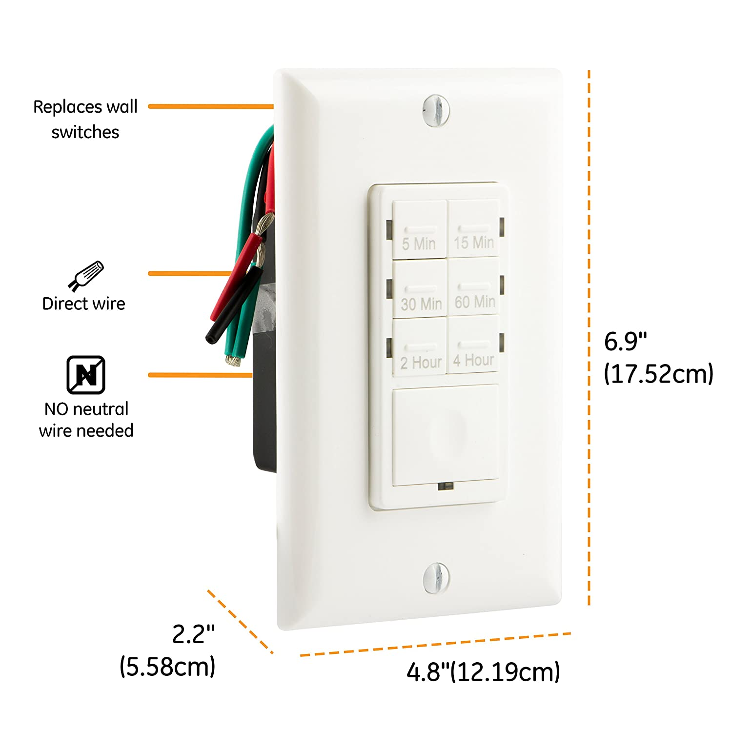 Ge Push Button In Wall Digital Countdown Timer Switch 5 15 30 Light And Exhaust Fan Wiring Diagram For 1 Powering Minute 2 4 Hour Presets On Off No Neutral Wire Required Lights Fans