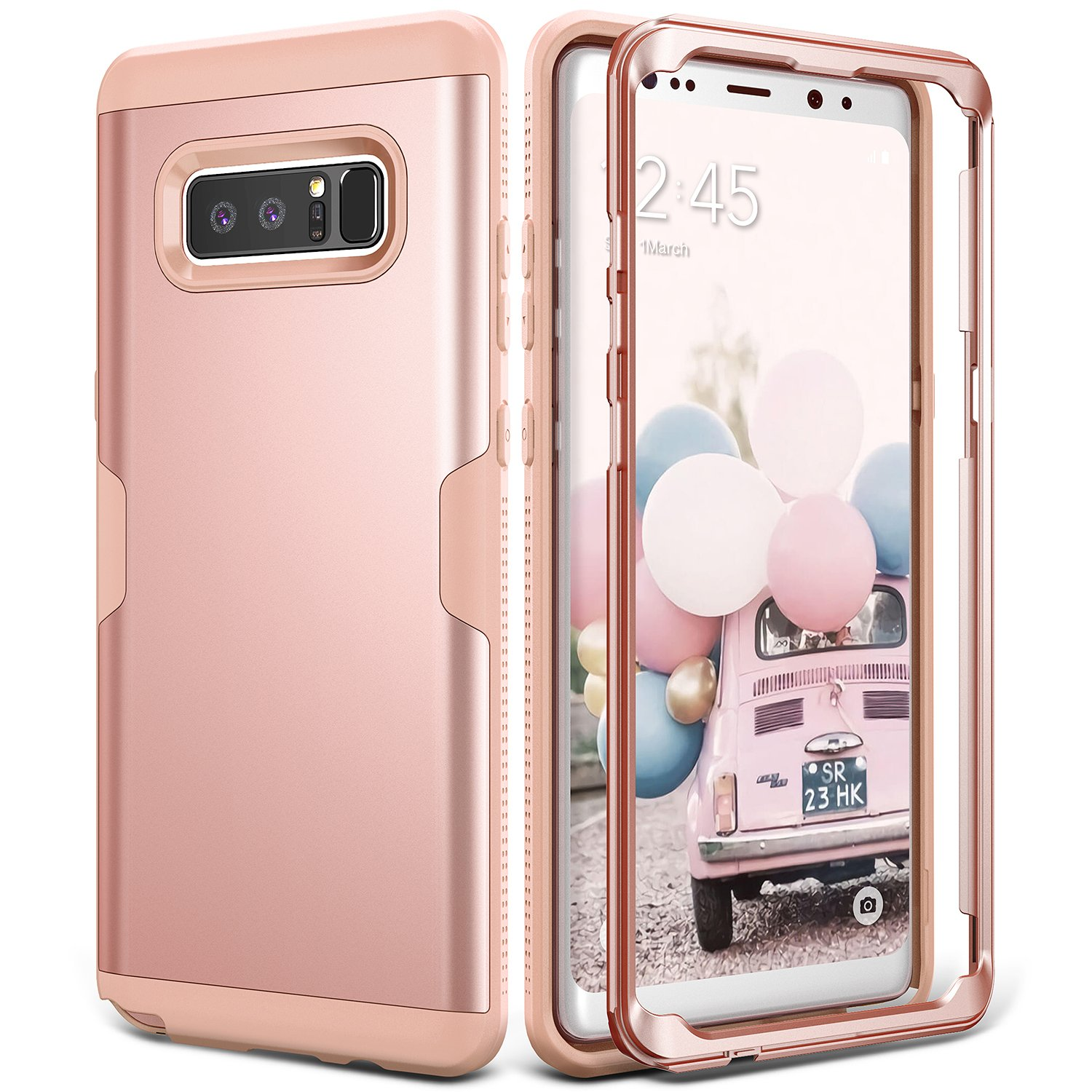buy online 7a01f 4a7fe Galaxy Note 8 Case, YOUMAKER Rose Gold Full Body Heavy Duty Protection  Shockproof Slim Fit Case Cover for Samsung Galaxy Note 8 (2017 Release)  Without ...