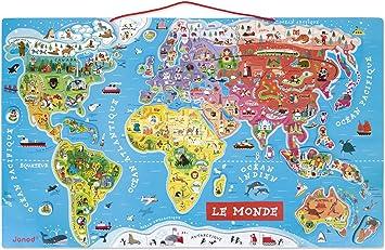 Janod - Puzzle magnético del Mundo de madera, Version en Francés ...