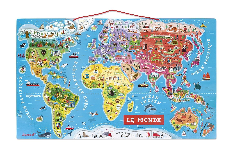 Janod Puzzle magnético del Mundo de madera 92 piezas, Version en Francés (J05500)