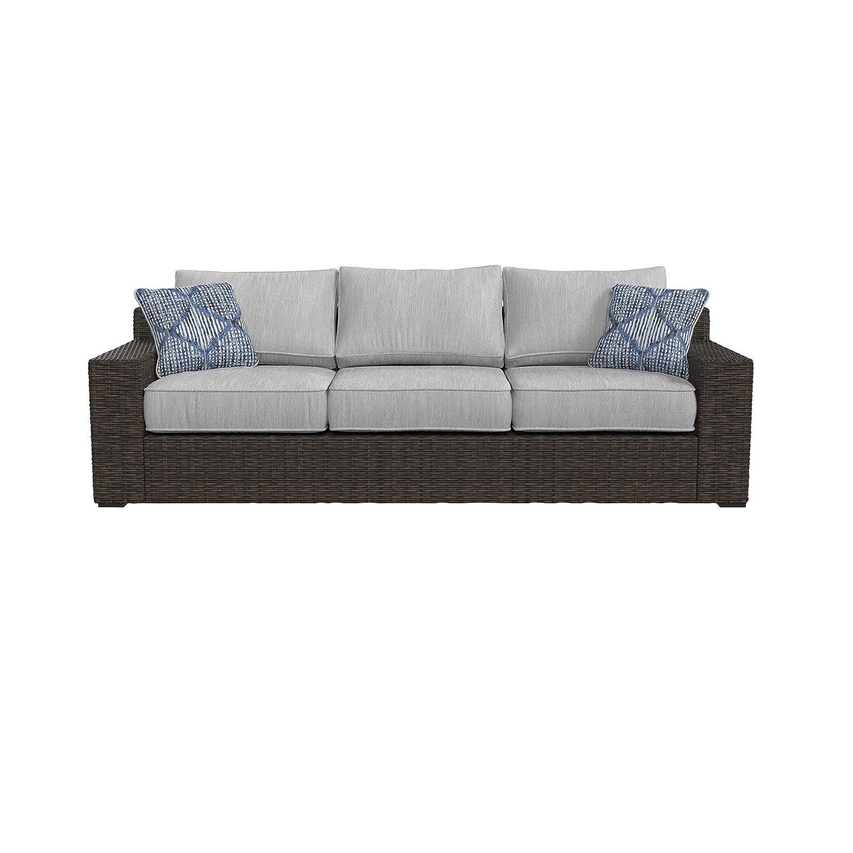 Amazon com ashley furniture signature design alta grande outdoor sofa with cushion beige brown garden outdoor
