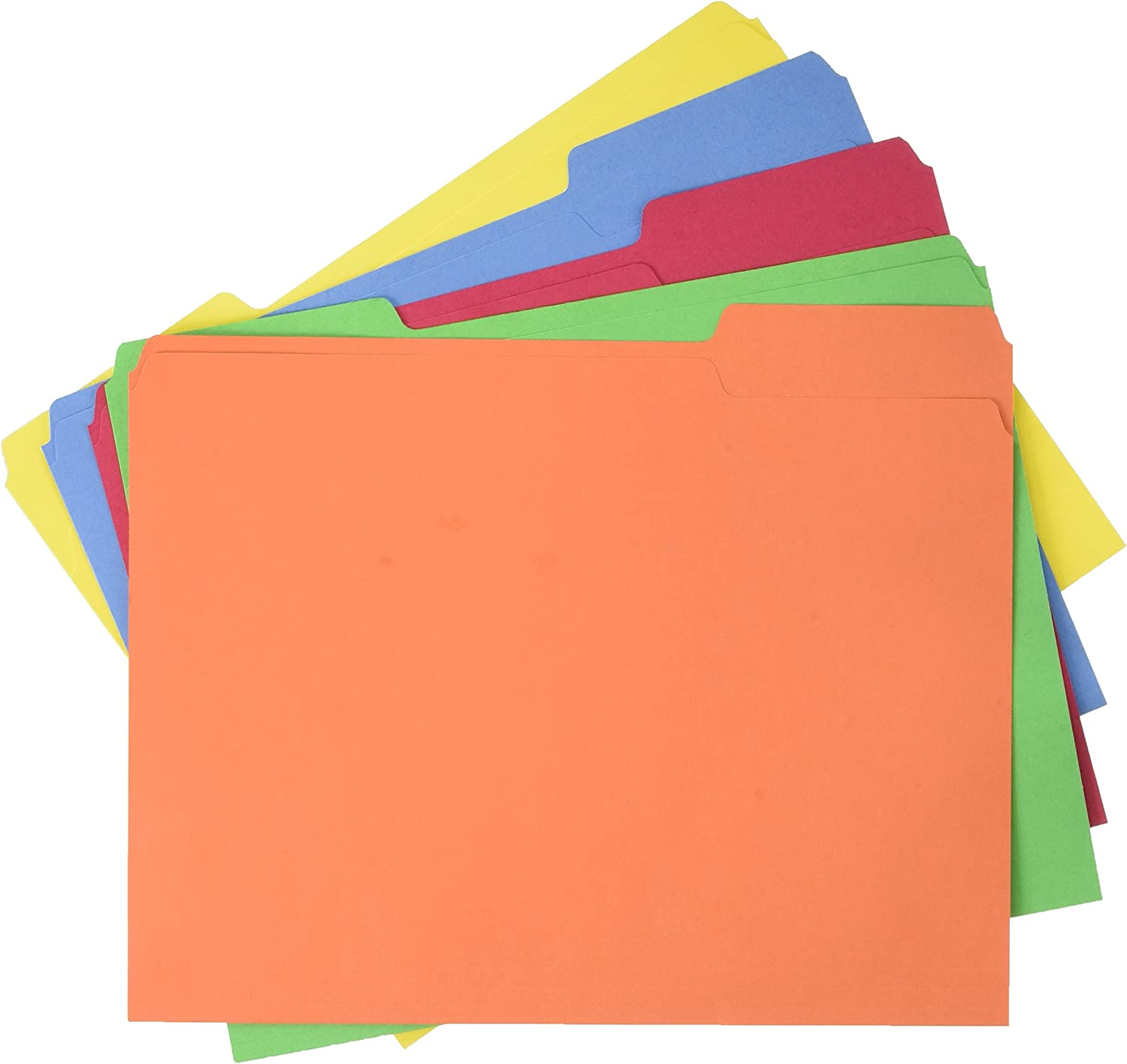 Basics AMZ401 File Folders - Letter Size (100 Pack) – Assorted Colors : Office Products