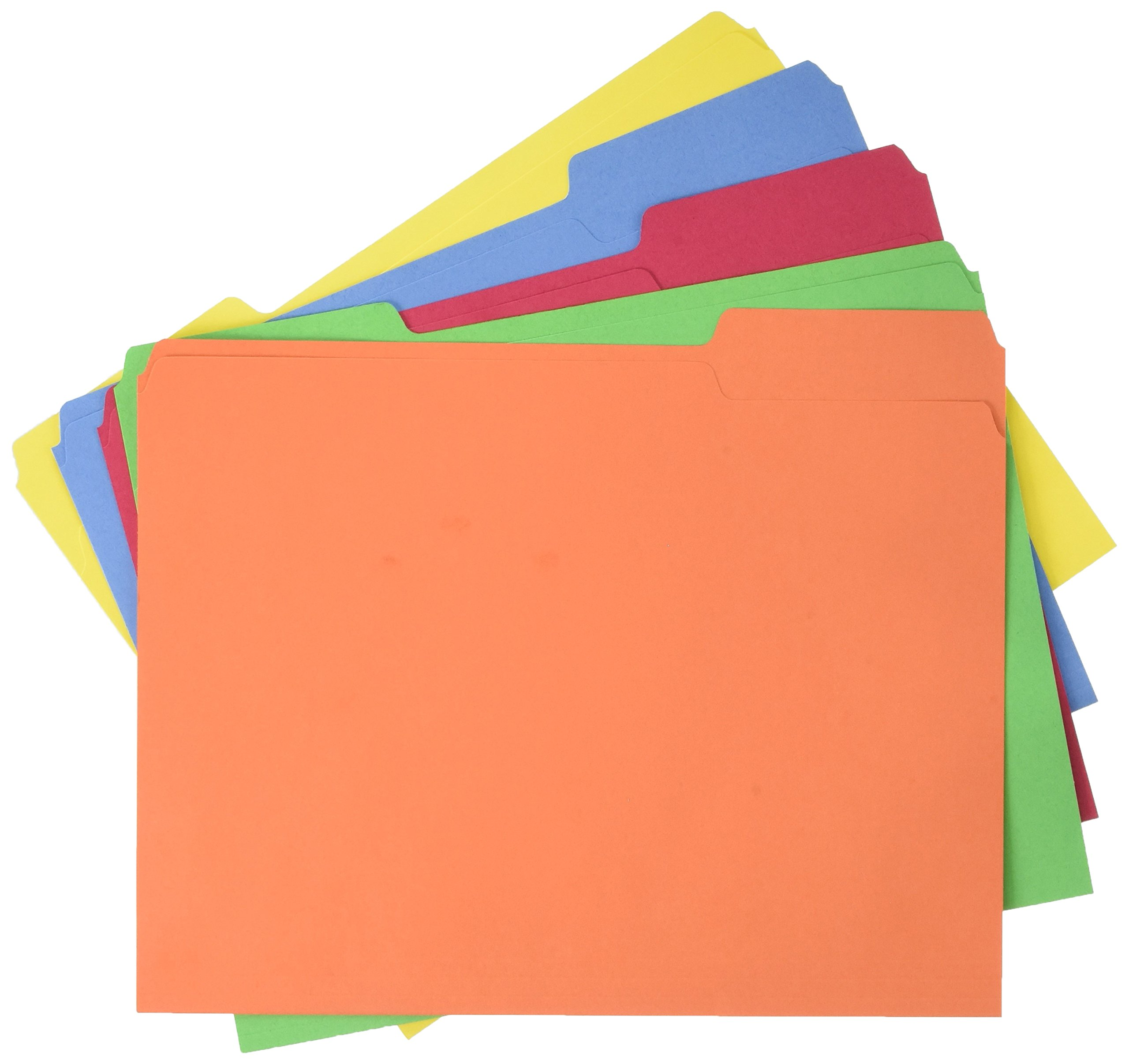 AmazonBasics AMZ401 File Folders - Letter Size (100 Pack) – Assorted Colors