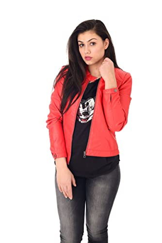 Giacca in ecopelle donna Only rossa
