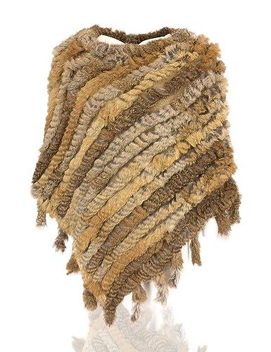 Uilor Conejo de punto de mujeres poncho de la piel del mantón del cabo con borlas