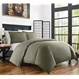 Zen Bamboo Ultra Soft 3-Piece Bamboo Derived from Rayon and Microfiber Blend Duvet Cover Set - Hypoallergenic and Wrinkle Resistant - King/Cal King - Olive