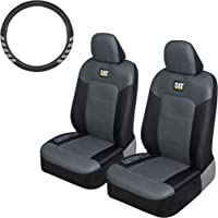 $28 » Caterpillar MeshFlex Truck Seat Covers, Front Seat Set with Steering Wheel Cover - Universal Fit…