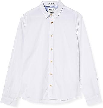 Springfield Micro Stripes Franq-c/99 Camisa Casual, Blanco ...