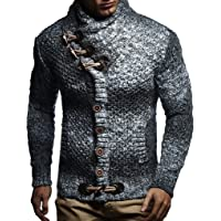 Leif Nelson LN20738 Men's Knitted Turtleneck Cardigan with Faux Leather Accents